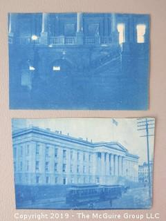 Collection of vintage photos including two cyanotypes.
