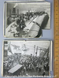 """(2) Large Format Photos of the """"Eastland"""" Disaster on the Chicago River in 1915 when 850 people died."""