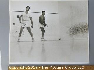 Arthur Rickerby Large Format Photo of Robert McNamera, shirtless, playing Squash with partner