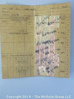 Collection of Ephemera including 1954 Amalgamated Clothing Workers of America Union Book