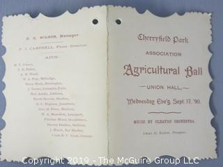 Collection of Ephemera including 1890 Agricultural Ball Program and 1862 receipt of hay load at Washington City