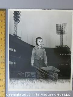 Arthur Rickerby Large Format B + W Photo of Young Groundskeeper at a Major League Stadium