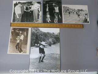 Collection of Large Format B + W Photos; including Mercury Morris playing basketball, golfers consulting the voluminous rule book