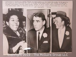 1960 UPI Press Photo of Dinah Washington, Peter Lawford and Frank Sinatra at Sammy Davis Jr wedding to May Britt