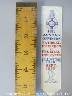 1935 Convention Ribbon of the National Federation of Federal Employees; Yellowstone Park