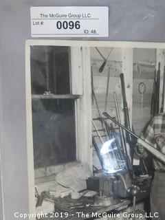 Large Format B + W Photo of Gunsmith in Shop