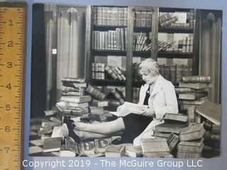 Large Format B + W Radio Photo of Woman Engrossed in Her Books