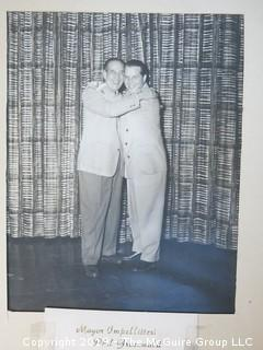 Large Format B + W Photo Phil Greenwald, Director of Entertainment at the Concord Hotel, and Mayor Impellitteri of New York City, 1950-53