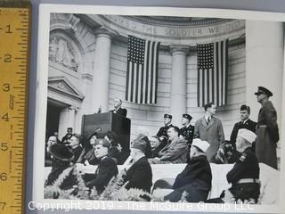 Large Format B + W photo of FDR addressing veterans