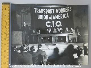 Large Format B + W photo of Union Hall Meeting; Transport Workers Union of America, C.I.O.