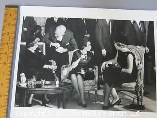 Large Format B + W photo of Lady Bird Johnson Meeting Princess Beatrix