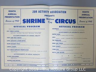Vintage Shrine Circus Program, Sarasota, Florida