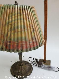 Table Lamp with pleated shade (note: paper tear at top rim of shade)