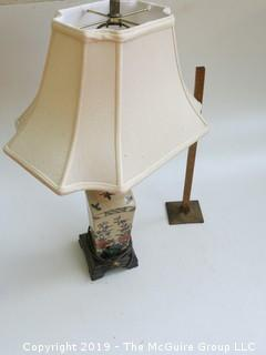 (2) Asian Style Ceramic Table Lamps; 1 shade