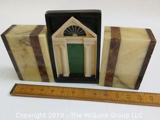 Collection including pair of Italian Onyx Bookends