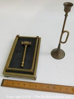 Decorative horn and Brass Gavel