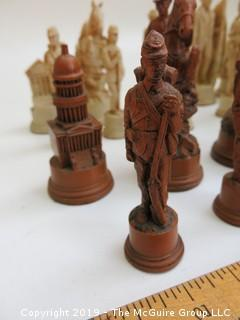 American Civil War Themed Plastic Chess Pieces (some damaged)