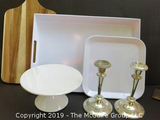 Eclectic Mix including serving trays, cutting board and candlesticks
