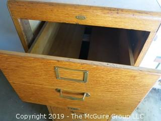"4 Drawer Quarter Sawn Oak Legal Size File Cabinet with Metal Slides; nameplate - Library Bureau SoleMakers;  20 x 28 x 52"" Tall"