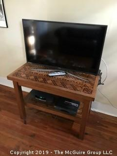 "Marquetry Table with Lower Shelf; 40 1/2L x 24 1/2D x 29 1/2"" Tall"