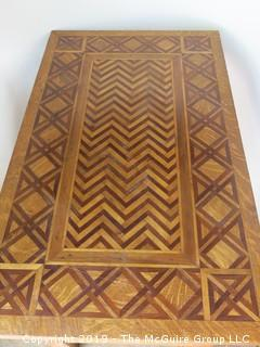 """Marquetry Table with Lower Shelf; 40 1/2L x 24 1/2D x 29 1/2"""" Tall"""