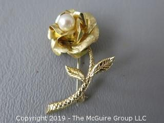 14k Rose Form Brooch with single set pearl; 4.2g