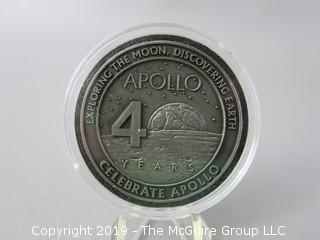 Apollo 40th Anniversary Official Commemorative medallion; containing metal flown to the Moom on Apollo Missions