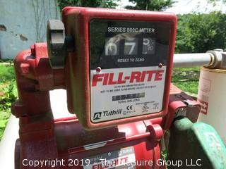 500 Gal Fuel Tank; Tuthill Fill Rite FR701V 115 V AC 20 GPM Fuel Transfer Pump & Meter Heavy Duty, estimated to have at least  150 gal. of diesel in tank
