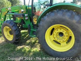 John Deere 5101E Tractor with 240 Loader; only 798 hours; includes 3 attachments: Adjustable Forks, Bucket and Hay Spear (Note: Description Altered 09.03 @ 4:07PM)  ***CAB Will BE LOCKED AFTER SALE AND WILL NOT BE USED FOR LOAD-OUT)
