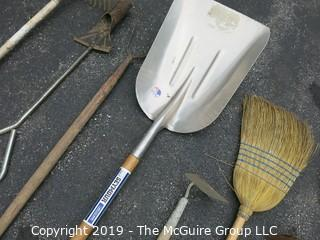 Collection of Garden Tools including Aluminum Scoop Shovel
