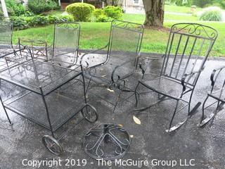 Iron Patio Furniture including oval table, serving table, slider/rocker, 2 rockers, 3 spring arm chairs
