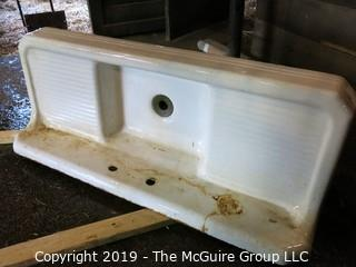 "Enameled Cast Iron sink; 64"" W"