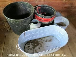 Collection including horse feeding buckets and galvanized pails and tubs