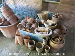 Large Collection of Clay Garden Pots, Wire Hoops and Roll of Chicken Wire