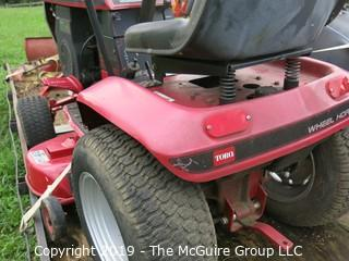 """Toro Wheelhorse Lawn Tractor; 1000 hours; Model 78345; SN 8901393; Kohler Command 12.5 Pro Series 8-Speed; fitted with 42"""" side discharge Toro mowerdeck, Model 74328, SN 8900544; needs battery, key and tune-up according to consignor (NOTE: Description altered 9/7/5:36am)"""