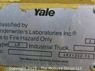 Yale Forklift; 3000 lb. capacity; 5231 hours; needs battery, tune up and propane tank, according to consignor