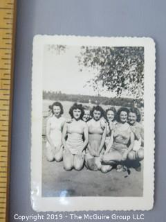 Collection of B&W Photos: LOOK AT ALL PHOTOS '20's 30's 40's. Military;Haig Scotch Co.; women in vintage swimsuits, dogs, vintage cars, etc.