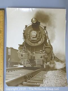 Collection of B&W large format photos; subject- trains & railroads