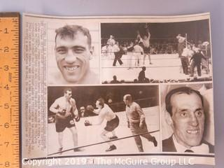 Collection of large format B&W photos including boxers Dick Tiger, Archie Moore, Yvon Durelle, Primo Carnara and Gene Fullmer.