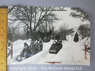Collection of large format B&W sports photographs including the pitcher Dennis Reeder of the Minneapolis Millers, golfers Tom Gorman and Ben Hogan, and a toboggan sled race circa 1938, and hockey player Allen Stanley ,