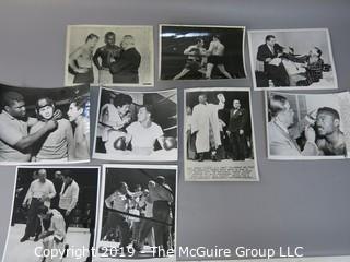 Collection of large format B&W boxing photos including Ezzard Charles, Feddie Peshore