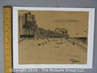 """Charcoal on Paper; signed """"B. Robinson 1-27-68"""", lower right; 9 x 11 1/2"""""""
