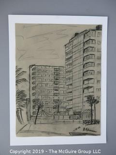 "Charcoal on Paper; signed ""B. Robinson 1968"" lower right; 9 x 11 1/2"""