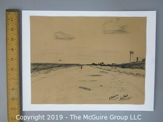 "Charcoal on Paper; signed ""B Robinson - Nags Head"" lower right; 9 x 11 1/2"""