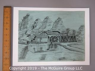 "Charcoal on Paper; signed ""Robinson - Mabry Mill"" lower right; 9 x 11 1/2"""