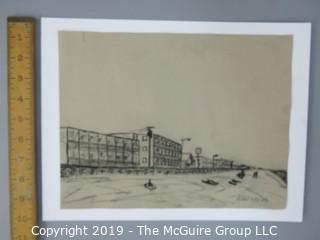Charcoal on Paper; Ocean City, MD, unsigned,  9 x 11 1/2""