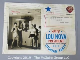 "Photo of Lou Nova, 1935 World Amatear Boxing Champion; knocked out heavyweight champion Max Baer twice with his noted ""Cosmic"" punch.  Fought Joe Louis for title.  Post boxing career, acted in Hollywood with 45 credits"