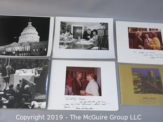 Collection of Large Format B&W Photos of LBJ and Ladybird with Grandchild in the White House, Betty Beale, WAshington Star REporter with Happy and Nelson Rockefeller, the Capitol at night, IKE at 1956 Republican National Convention; and a book called Hillary.