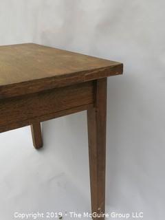 Oak veneered desk with single drawer. Mfg in Williamsport, PA