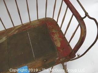 Antique Sleigh/Buggy Seat with original paint and leather; 40W x 22D x 32T""